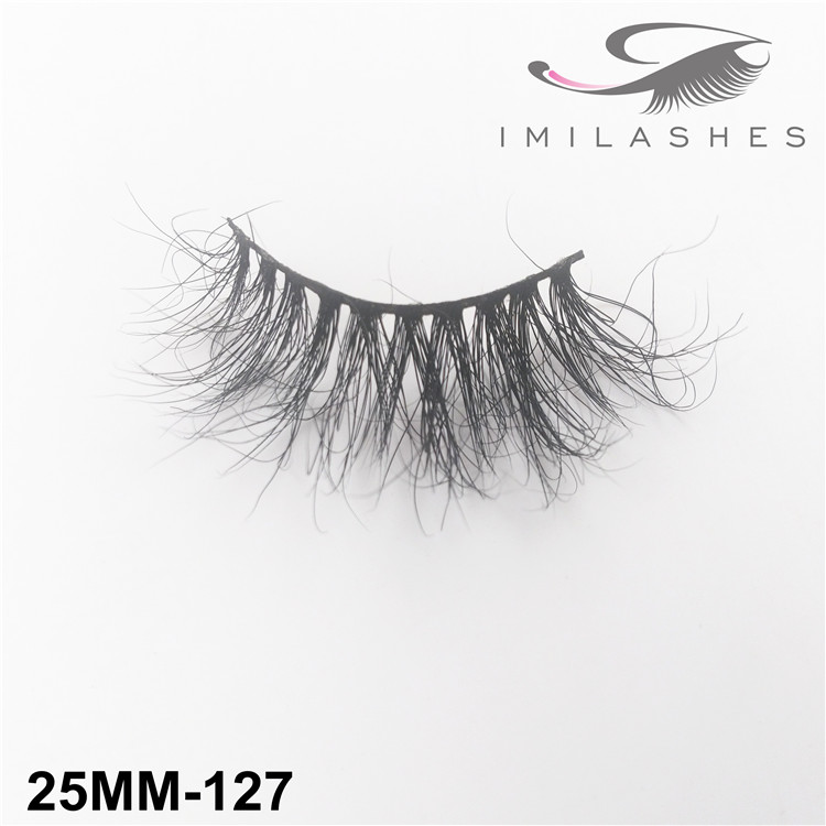 Professional 25mm long black mink eyelashes factory -V