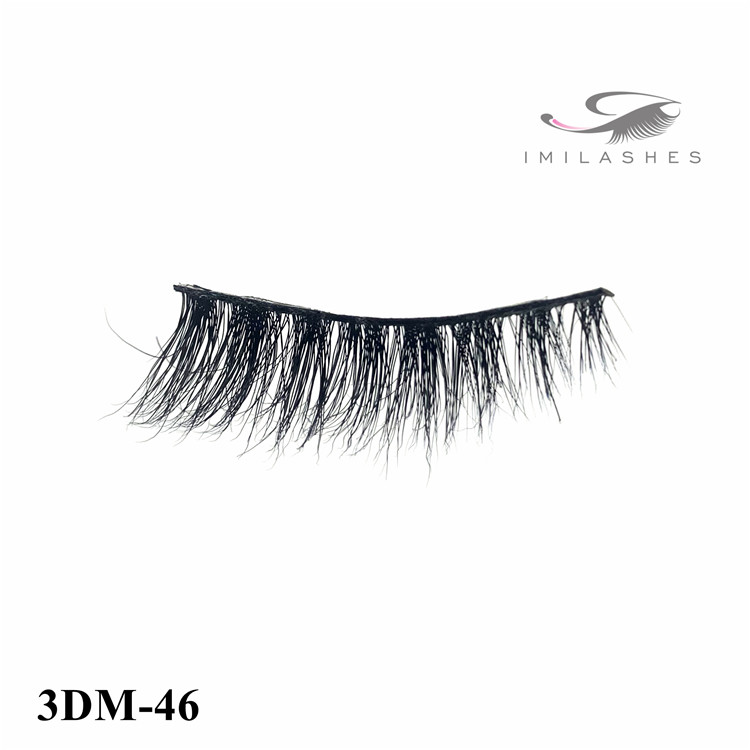 Reusable soft black cotton mink false eyelash wholesale-V